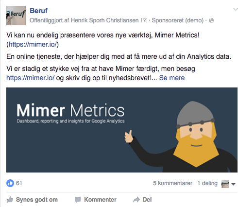 Facebook klik til website via annoncering og bureau